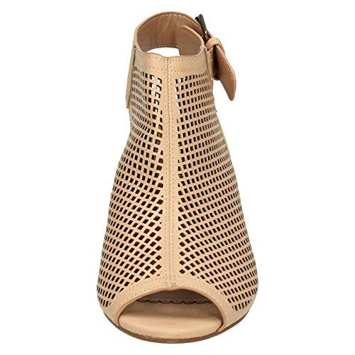 Savannah Ladies Mid Heel Peep Toe Sandals Nude (Ivory) fbAisB