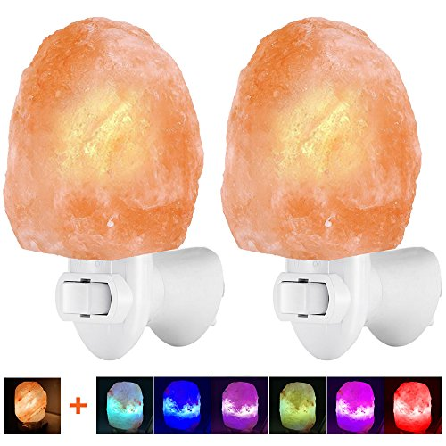 Venhoo Himalayan Salt Lamp Natural Crystal Salt Rock Glow Hand Carved Wall Plug in Night Light with 2 Incandescent Bulbs and 2 Colorful LED Bulbs for Air Purifying, Decoration and Lighting-2 Pack