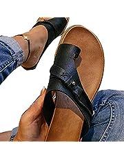 Kadın Ortotik Sandalet Düzeltme Terlik PVC Kumaş Açık Parmak Terlik Düz Topuk Parmak Arası Terlik Düz Plaj Yürüyüş Ayakkabısı