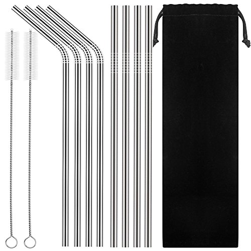 Price comparison product image Set of 8 Stainless Steel Straws Ultra Long 10.5'' Drinking Metal Straws For 20 30oz Stainless Tumblers Ramblers Cold Beverage (4 Straight + 4 Bent + 2 Brushes)