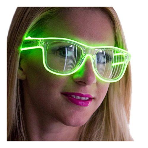 Neon Nightlife Green Frame/Clear Lens Light Up Glasses ()