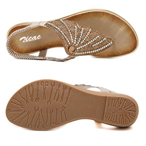 Zicac Damen Runde Clip Toe Elastische T-Strap Böhmen Roman Strass Niedrige Flache Ferse Sandalen Sommer Strand Post Flip Flops Flache Schuhe Gold