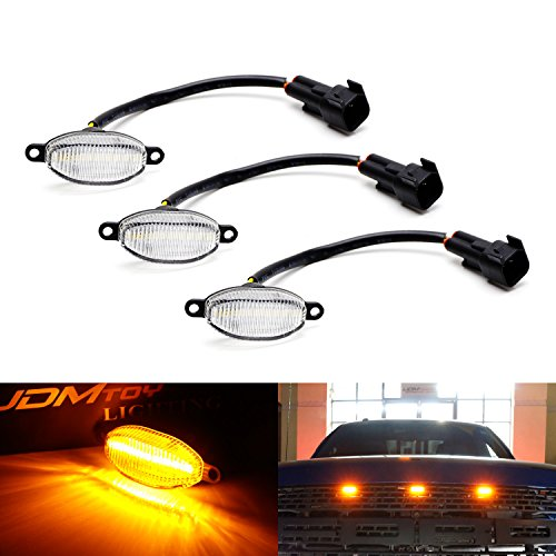 (iJDMTOY (3) Clear Lens Amber LED Grille Running Lights For 10-14 & 17-up Ford Raptor (Powered by 36 Pieces of SMD LED Lights))