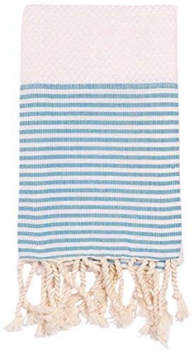 Turkish-T Parisian Hand Towel with Tassels - Malibu Blue ()