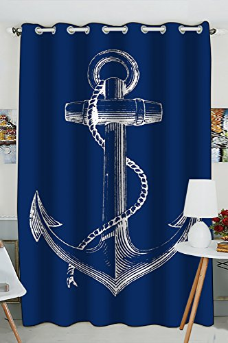Custom Blue Anchor Window Curtain,Nautical Navy Blue Anchor Grommet Blackout Curtain Room Darkening Curtains For Bedroom And Kitchen Size 52(W) x 84(H) inches (One Piece) For Sale