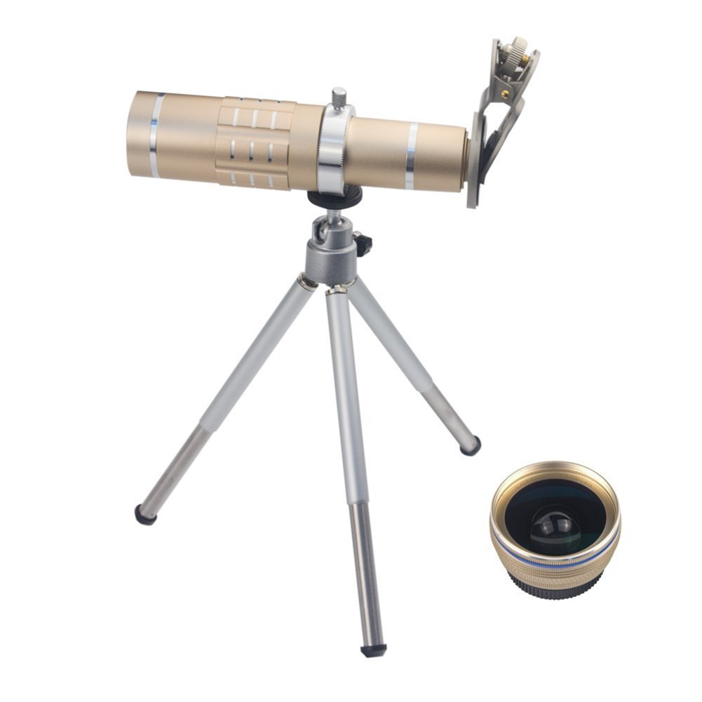 free shipping SODIAL(R) 3 in 1 Smart Phone Lenses Kit 18X Telephoto Lens Wide Angle Lens Macro Lens with Tripod and Universal Clip for iPhone Samsung HTC LG and Most Smartphones (Gold)