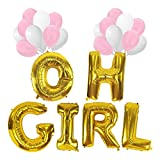 KUNGYO Baby Shower Decorations for Girl-Giant OH GIRL Balloon-40 Mylar Balloon in Letters O-H-G-I-R-L and 20 PCS Pink&White Latex Balloons,Perfect Party Supplies for Hanging Indoor/Outdoor