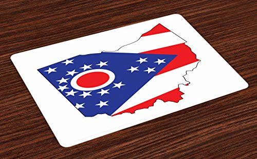 Lunarable Ohio Place Mats Set of 4, Buckeye State Outline Map with Flag 17 Stars Circle and Triangle, Washable Fabric Placemats for Dining Room Kitchen Table Decor, Blue White and Vermilion