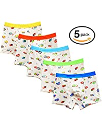 Little Big Boys Soft Modal Boxer Briefs Underwear 5 Pack Dinasaur Print 2-7Y
