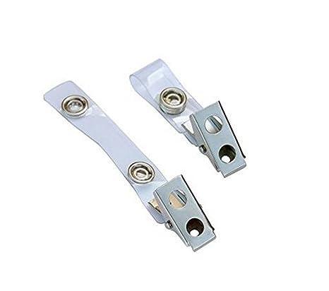 50 Pcs Metal Double Trou Badge Clips Avec Des Sangles En PVC Transparent SE Fixe Pour