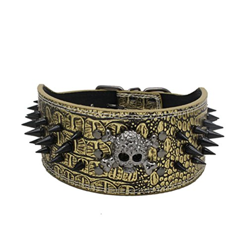 Uniquorn 2017 New Anti-Biting Spikes Pet Collar Black Skull Dog Collar Medium-Sized Dog Personality Fashion Anti-Leather PU (Costume Design School Seattle)