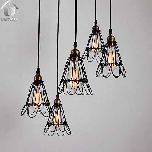 UNITARY BRAND Black Vintage Metal Cage Shade Hanging Ceiling Chandelier Max. 300W With 5 Lights Painted Finish