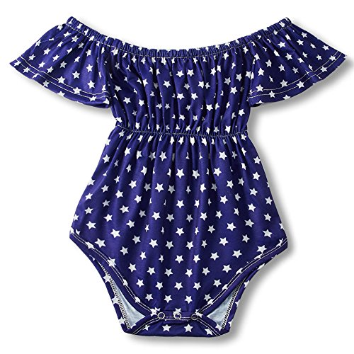 Baby Girls Off Shoulder Romper Bodysuit,Colorful Summer Onesie