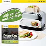 12 Pack Toaster Bags Reusable for Grilled Cheese | Safest On The Market - FDA & LFGB Approved - 100% BPA & Gluten Free Sandwich | Non Stick Toast Bag Made of Premium Quality Teflon