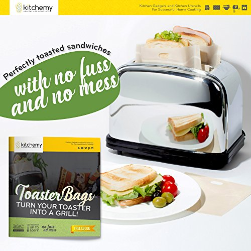 2018 UPGRADED 12 Pack Toaster Bags Reusable for Grilled Cheese Sandwich | Safest On The Market - FDA & LFGB Approved - 100% BPA & Gluten Free | Non Stick Toast Bag Made of Premium Quality Teflon by Kitchemy (Image #1)