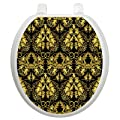 Toilet Tattoos Rococo Black and Gold Design Toilet Seat Applique