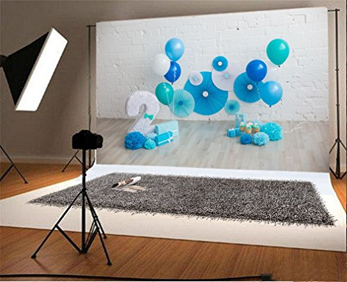 YongFoto 5x3ft Photography Backdrop Happy 2nd Birthday Decor Paper Flower Balloons Backdrops For Photo Shoots Party Newborn Kids Baby Personal
