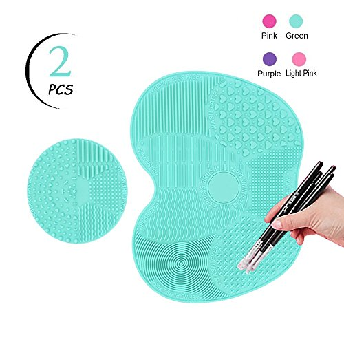 TailaiMei Makeup Brush Cleaning Mat,Set of 2 Silicone Cosmetic Washing Tool with Suction Cups(Green)