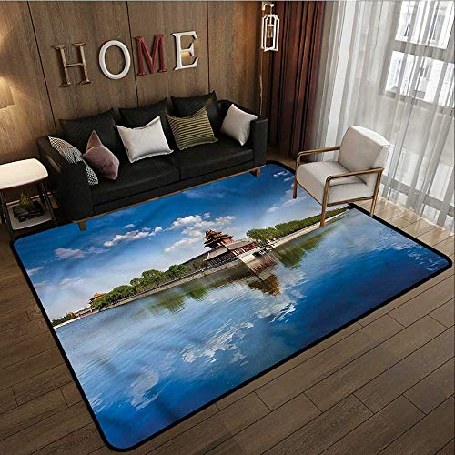 Ancient Architecture China - Kids Rug Ancient China Architecture History Anti-Slip Doormat Footpad Machine Washable 4'7
