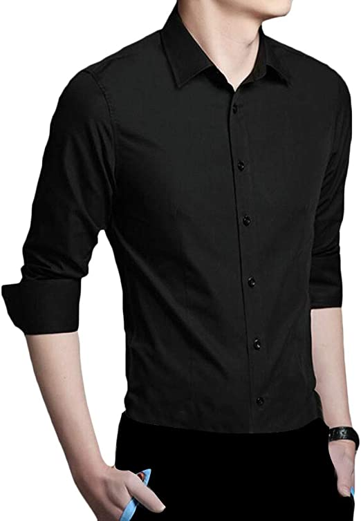 WSPLYSPJY Mens Solid Slim Fit Business Casual Long Sleeves Button Down Dress Shirts