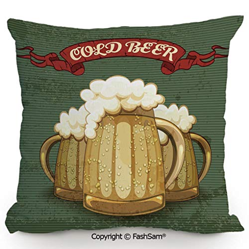 FashSam Decorative Throw Pillow Cover Retro Style Poster for Cold Beer Foamy Chilled Mugs Lager Ale Alcohol Drink for Pillow Cover for Living Room(20