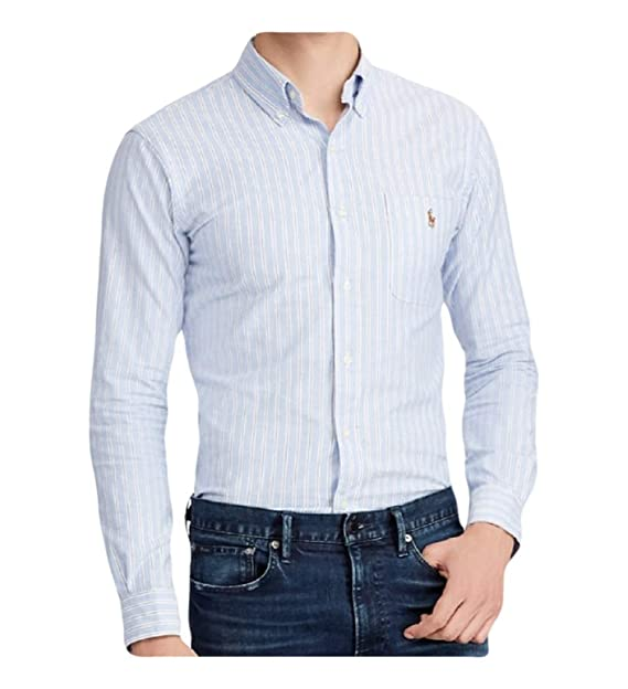 560c4ac69 Ralph Lauren Polo Men s Slim Fit Stretch Cotton Oxford Striped Shirt ...