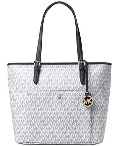 MICHAEL Michael Kors Jet Set Item Large Top Zip Pocket Tote (Large, Optic White/Navy) by MICHAEL Michael Kors