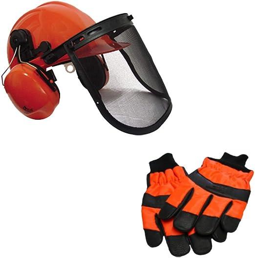 RocwooD - Casco de seguridad con visera y guantes medianos para trabajo con motosierra