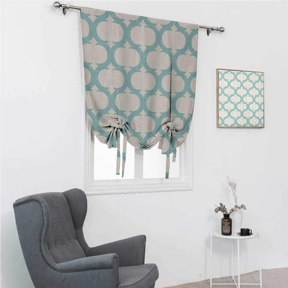 GugeABC Lush Decor Curtains Aqua Cute Curtains for Window Mesh Pattern with Curvy Figures Ancient Arabic Lattice Design Old Fashioned Pastel 42