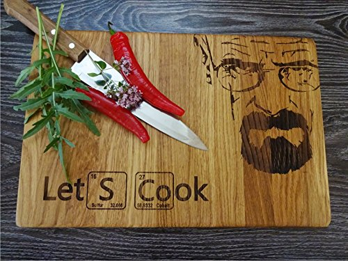 LET'S COOK 9.5x13.5 inches oak handmade cutting board with juice groove ()