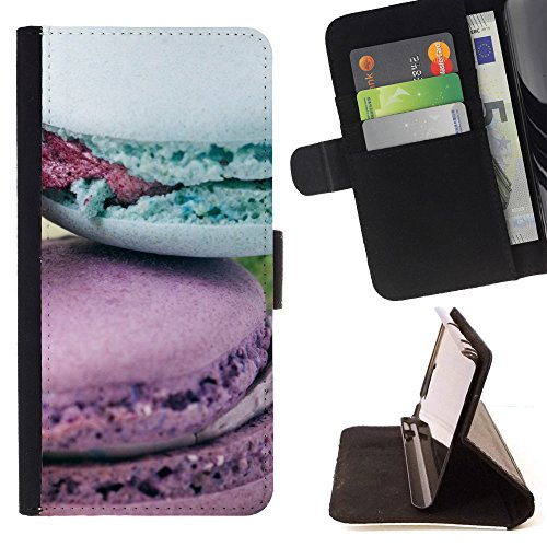 God Garden - FOR Apple Iphone 4 / 4S - Pebbles Macrons Pastel Colors Purple Pastry - Glitter Teal Purple Sparkling Watercolor Personalized Design Custom Style PU Leather Case Wallet Fli