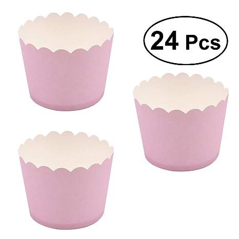 BESTONZON 24 Piezas Cupcake Paper Moldes Papel Copa de Horneado de Muffin Taza Papel para Cumpleaños