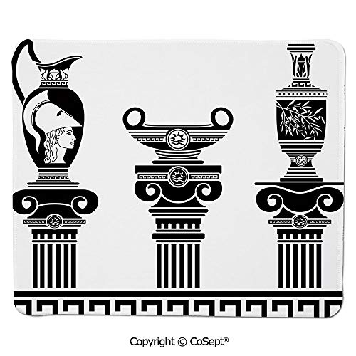 Ergonomic Mouse pad,Set of Hellenic Vases and Ionic Columns Artistic Design Amphora Antiquity,Dual Use Mouse pad for Office/Home (11.81