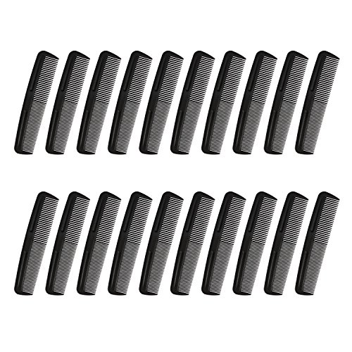 Cubaco 5 inch Hair Comb Pocket Size Comb Perfect for Travelling, Black (20 Pack)