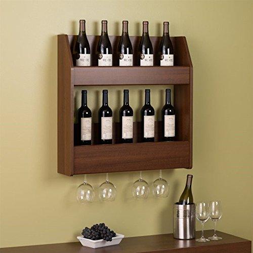Prepac 2-Tier Floating Wine and Liquor Rack, Warm Cherry