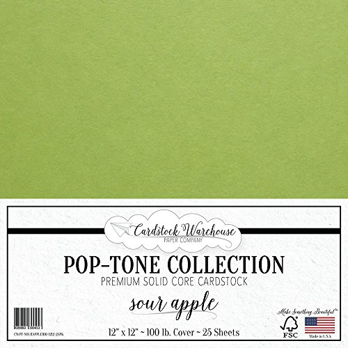 Apple Green Cards (SOUR APPLE GREEN Cardstock Paper - 12 x 12 inch 100 lb. Heavyweight Cover - 25 Sheets from Cardstock Warehouse)
