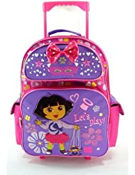 Large Rolling Backpack - Dora the Explorer - Lets Play Magic New Bag 618162
