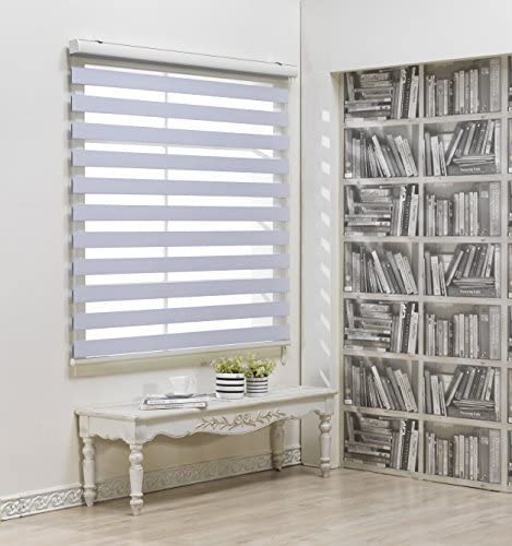 Custom Cut to Size, Winsharp Blackout Fetra, White, W 70 x H 47 inch Zebra Roller Blinds, Dual Layer Shades, Sheer or Privacy Light Control, Day and Night Window Drapes, 20 to 113 inch Wide