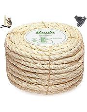 Homewit Jute touw henneptouw, 8mm x 25M natuurlijk sisal touw en dik jute touw met een paar handschoenen voor kattenkrabpalen, tuinbundeling, ambachten, woondecoratie