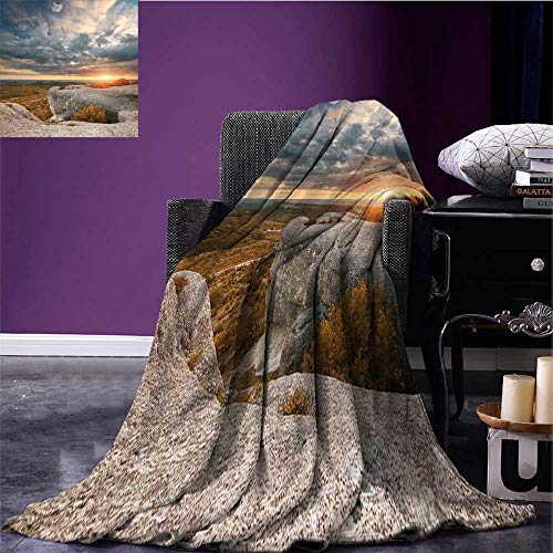 RenteriaDecor Mountain Cozy Flannel Blanket Composition of Nature Autumn Landscape Dramatic Cloudscape Rock Formation Warm Blanket Caramel Blue Grey Bed or Couch 70