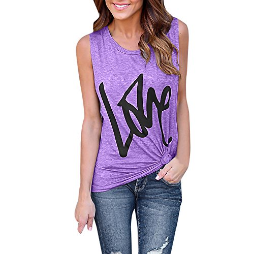 - Women's Crew Neck Tank Top Sleeveless Love Letter Print Simple T Shirts Pocket Cami Summer Tops