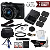 Canon EOS M100 Mirrorless Digital Camera with 15-45mm Lens (Black) 2209C011 International Version (No Warranty) - Deluxe Bundle