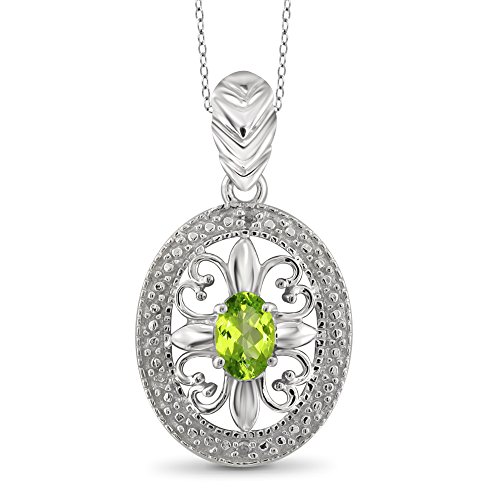 Jewelexcess 1/2 Carat T.G.W. Peridot and White Diamond Accent Sterling Silver Pendant