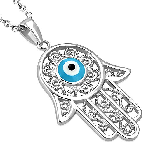 925 Sterling Silver Filigree Womens Blue Evil Eye Hamsa Pendant Necklace