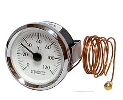IMIT Termómetro Redondo con Bulbo y capilar de 1 MTS 0ºC + 120ºC ...