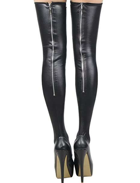 9fcfcc388e1 ohyeah Women s Faux Leather Stockings Thigh High Clubwear Stockings Black  at Amazon Women s Clothing store
