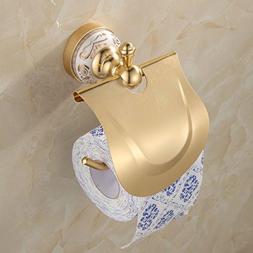 Ibnotuiy European Antique Space Aluminum Wall Mounted Toilet Paper Holder Luxury Ceramic Bathroom Waterproof Tissue Holders Gold by Ibnotuiy (Image #7)