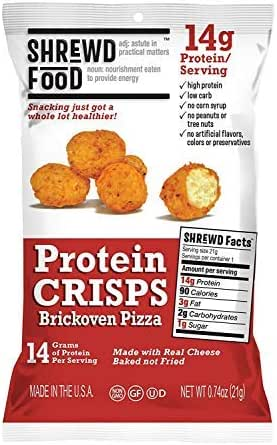 Shrewd Food Brickoven Pizza Protein Crisps | High Protein, Low Carb, Gluten Free Snacks | Real Cheese, No Artificial Flavors | Soy Free, Peanut Free (8-Pack of .74oz Bags)