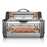 NutriChef Countertop Rotisserie Oven - Roaster Oven  Shawarma Machine  Kebab Machine  Stain Resistant Stainless Steel, Tempered Glass Includes Kebob Rack with 7 Skewers (PKRTVG38)