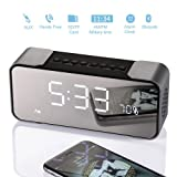 Bedside Alarm Clock with Bluetooth Speaker, Wireless Stereo Sound Speaker Built-in Micro SD